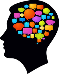 brain of speech bubbles