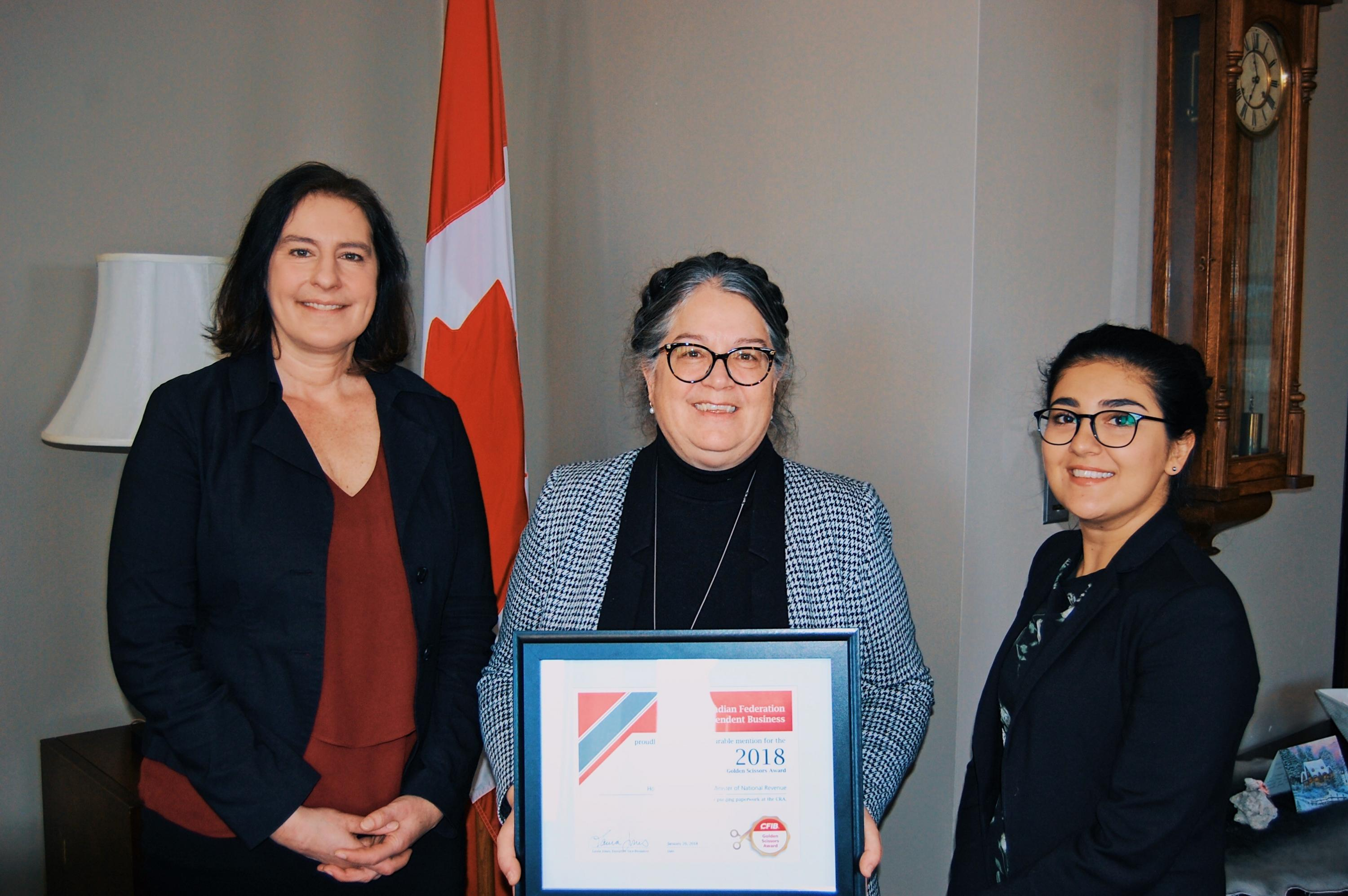Corrine Pohlman, Ashley Ziai and Minister LeBouthiller, GSA Fed 20180126