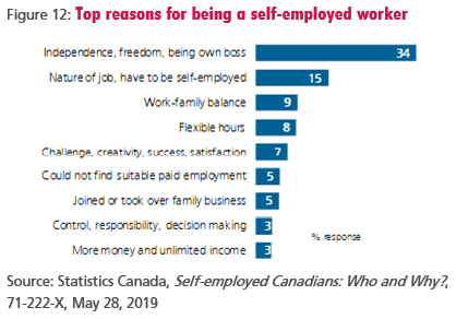 Figure 12: Top reasons for being a self-employed worker