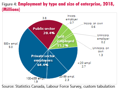 Figure 4: Employment by type and size of enterprise, 2018, (Millions)