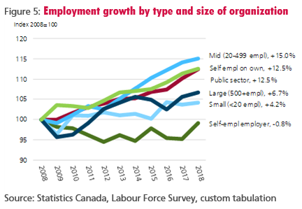Figure 5: Employment growth by type and size of organization