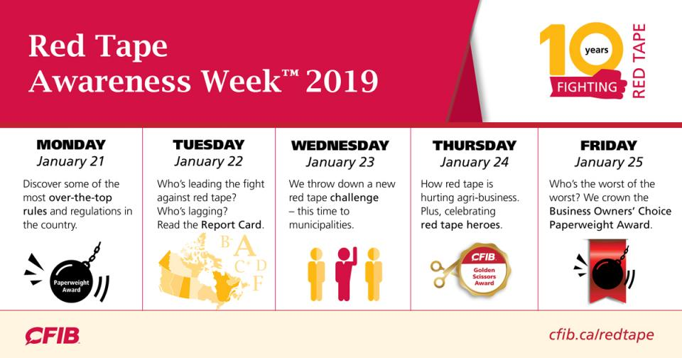 Schedule for Red Tape Awareness Week 2019