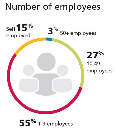 Dial showing the percentage of members by number of employees.