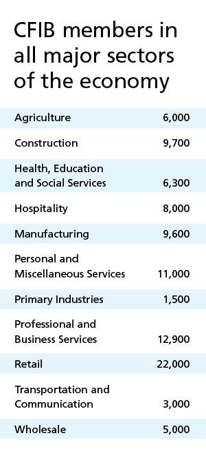 Table listing number of members by industry.