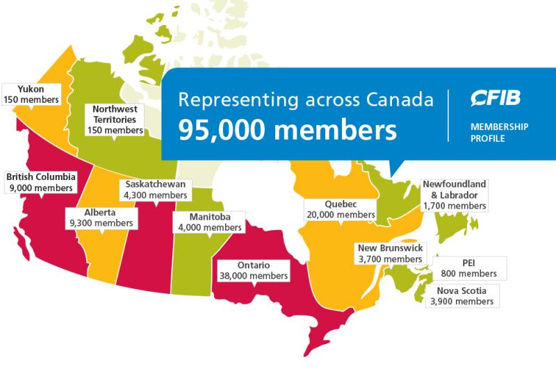 Map of Canada showing membership numbers per province